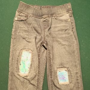 Justice girls stretchy jeans with sequin patches